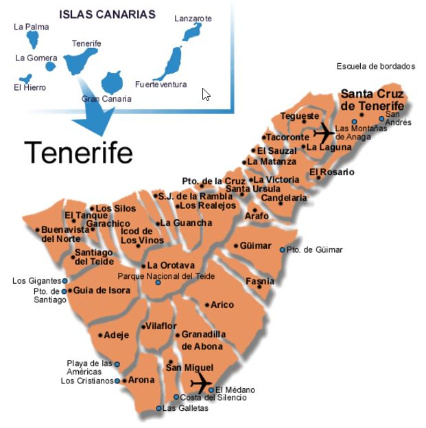 Detailed map of Tenerife island