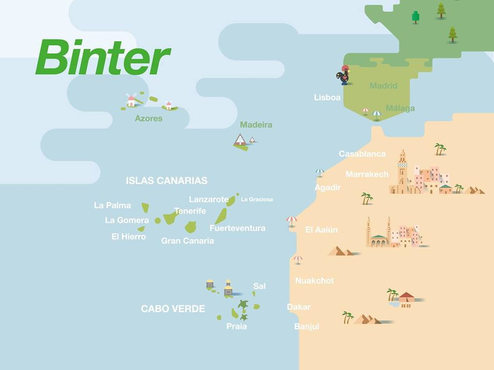 binter canarias route map