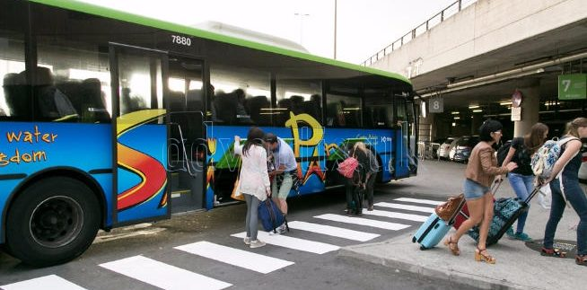 TITSA Tenerife new bus stop in Tenerife North airport Los Rodeos